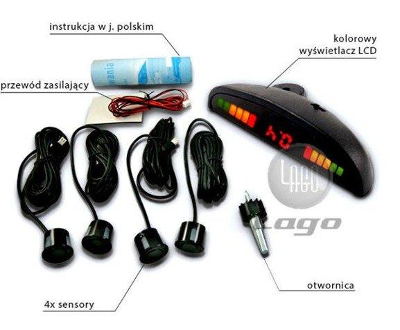 Czujniki cofania, 4 sensory, wyświetlacz LED, wyświetlacz podsufitkowy, odwrócony